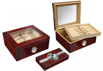 THE Sovereign Gift Set Humidor Sale - Beveled Glass Top w...