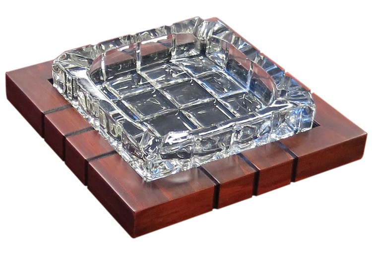 Crystal Cross-Hatched Ashtray