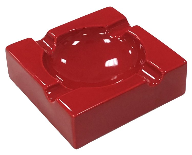 Large High Gloss Red Ceramic Ashtray