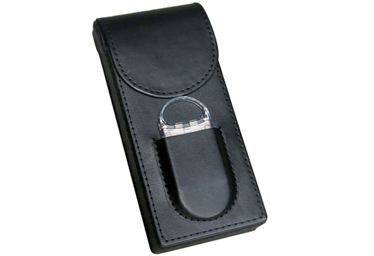 3 Cigar Leather Case w/ Cutter (Black)