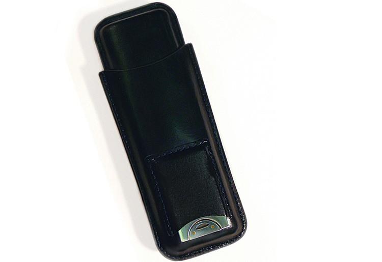 Cigar Leather Case w/ Cutter (Black)