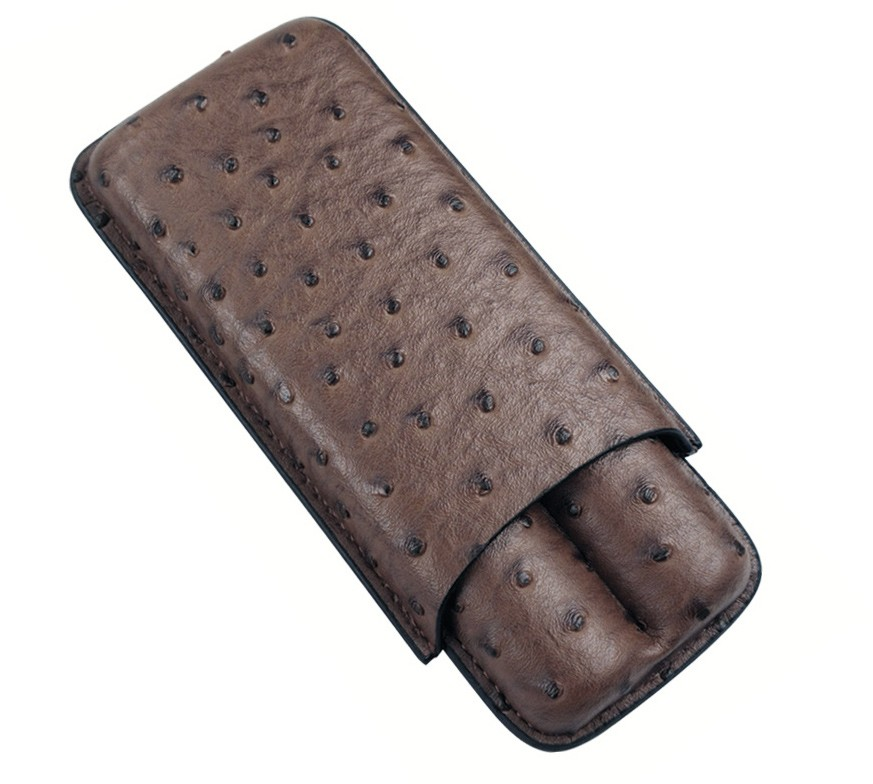 Ostrich 2 Cigar Case (Brown)