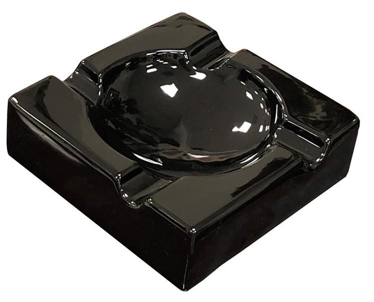 Large High Gloss Black Ceramic Ashtray
