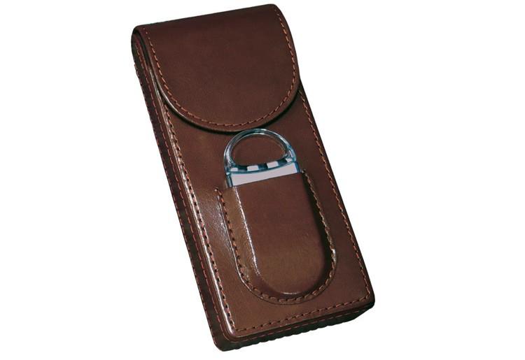 3 Cigar Leather Case w/ Cutter (Brown)